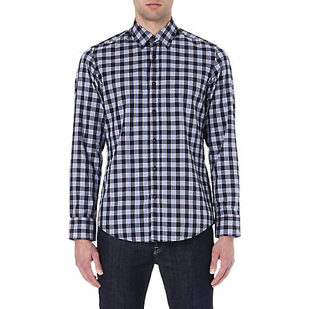 HUGO BOSS Twill check shirt (Blue