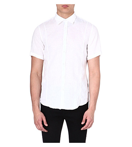 HUGO BOSS Short-sleeved linen shirt (White
