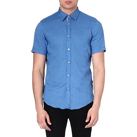 HUGO BOSS Short-sleeved linen shirt (Blue