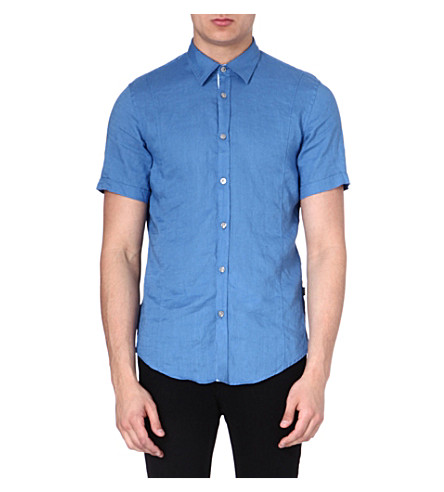 HUGO BOSS Short-sleeved linen shirt (Blue