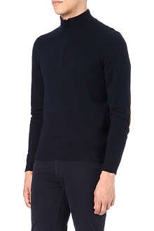 HUGO BOSS Zip-neck elbow-patch jumper