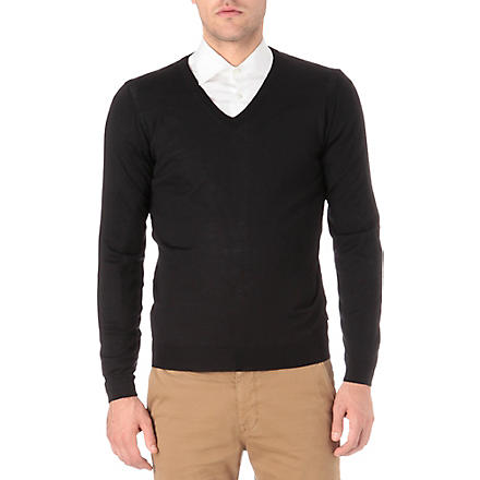 HUGO BOSS Merino wool knitted jumper (Black