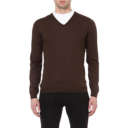 HUGO BOSS Extra fine merino-wool jumper (Brown