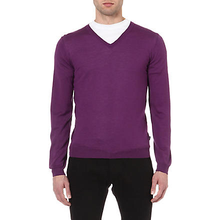 HUGO BOSS Extra fine merino-wool jumper (Purple