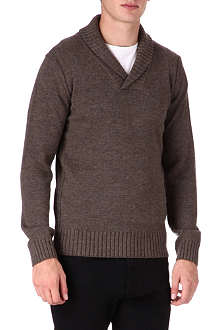 HUGO BOSS Mustafa shawl collar knit jumper