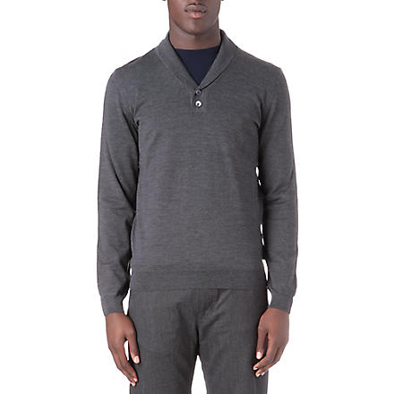 HUGO BOSS Nala shawl collar knitted top (Charcoal