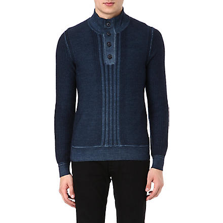 HUGO BOSS Textured virgin wool knitted jumper (Navy