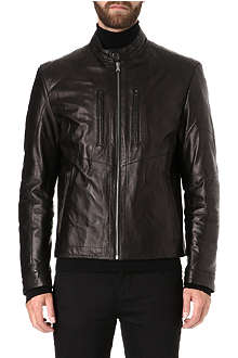 HUGO BOSS Stitch detail leather biker jacket