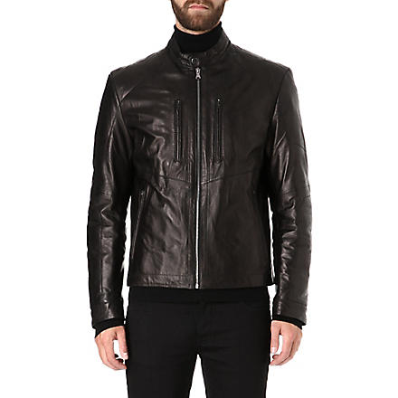 HUGO BOSS Stitch detail leather biker jacket (Black