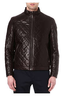 HUGO BOSS Nuro diamond-quilted leather jacket