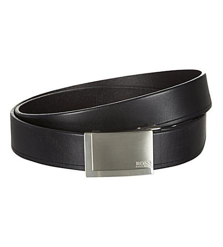 HUGO BOSS Logo-detailed leather belt (Black