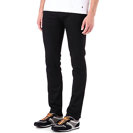 HUGO BOSS Skinny-fit straight-leg jeans (Black