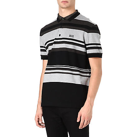 HUGO BOSS Varied stripe polo shirt (Black