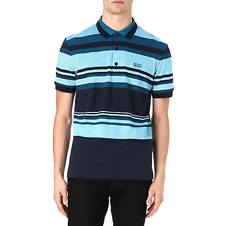 HUGO BOSS Varied stripe polo shirt (Blue