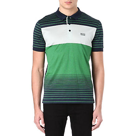 HUGO BOSS Varied stripe polo shirt (Navy/green