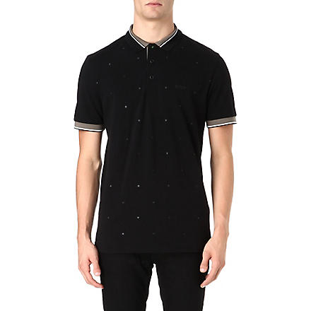 HUGO BOSS Square embroidered polo shirt (Black