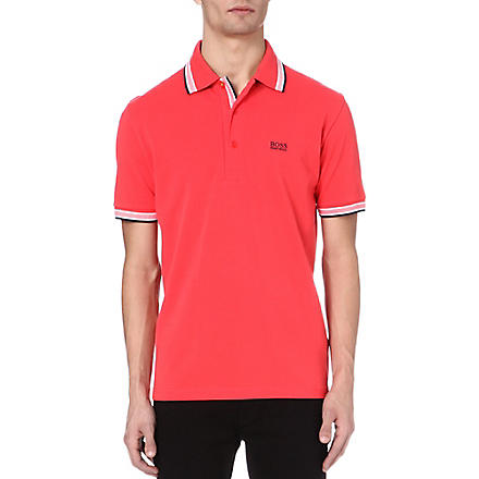 HUGO BOSS Paddy contrasting-trim polo shirt (Pink