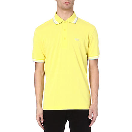 HUGO BOSS Paddy contrasting-trim polo shirt (Yellow