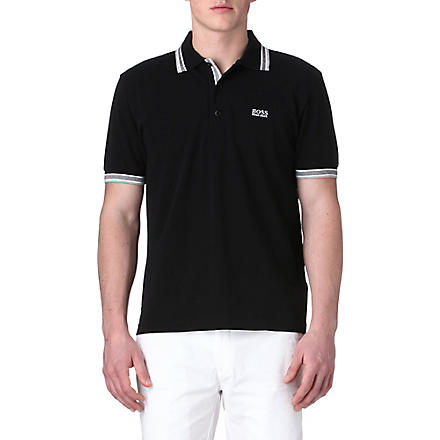 HUGO BOSS Paddy contrasting-trim polo shirt (Black