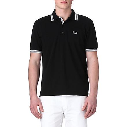 HUGO BOSS Paddy contrasting-trim polo shirt (Black