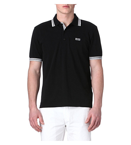 HUGO BOSS Paddy contrast-trim polo shirt (Black