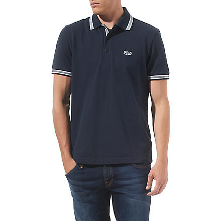 HUGO BOSS Paddy contrasting-trim polo shirt (Navy