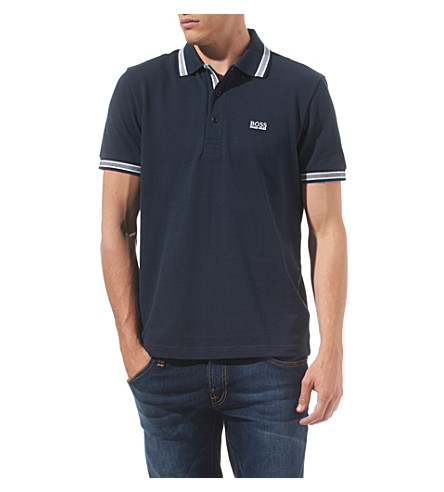 HUGO BOSS Paddy contrast-trim polo shirt (Navy