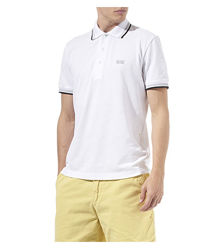 HUGO BOSS Paddy contrasting-trim polo shirt (White