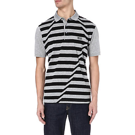 HUGO BOSS Skewed stripe polo shirt (Grey