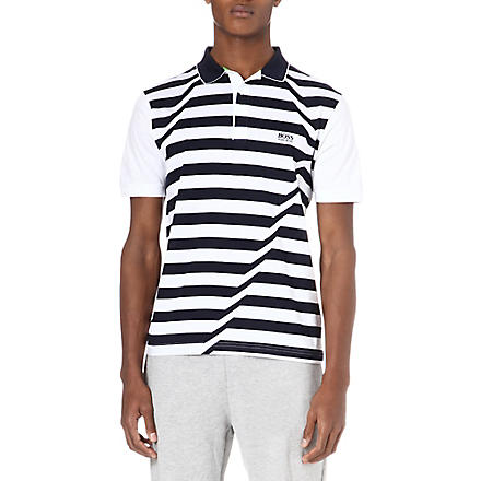 HUGO BOSS Skewed stripe polo shirt (White