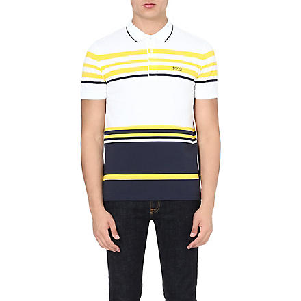 HUGO BOSS Piqué stripe polo (White