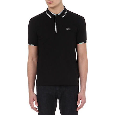 HUGO BOSS Stripe detail polo shirt (Black