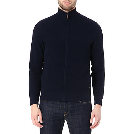 HUGO BOSS Pedri textured cardigan (Navy