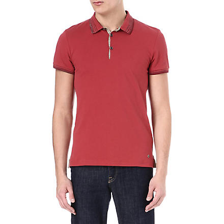 HUGO BOSS Stripe collar polo shirt (Red