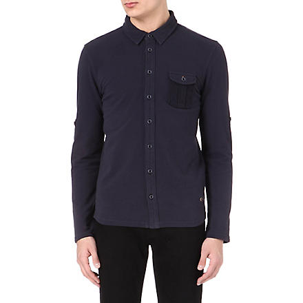 HUGO BOSS Long-sleeve cotton polo shirt (Navy