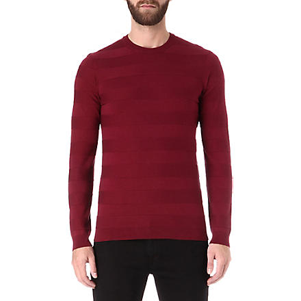HUGO BOSS Picardo striped jumper (Burgandy