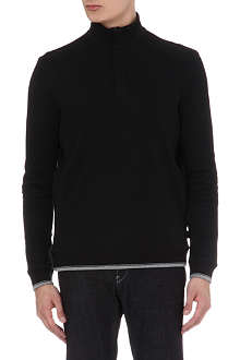 HUGO BOSS Zipped ribbed cotton top