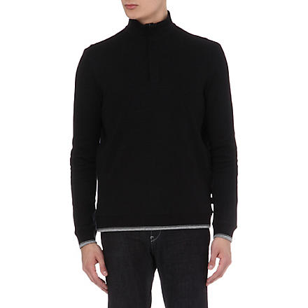HUGO BOSS Zipped ribbed cotton top (Black