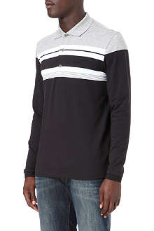 HUGO BOSS Long-sleeve block-stripe polo shirt