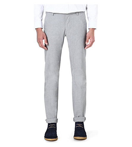HUGO BOSS Slim-fit cotton mix trousers (Blue