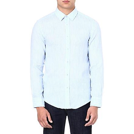 HUGO BOSS Ronny striped linen shirt (Blue