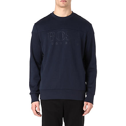 HUGO BOSS Tonal logo crew-neck sweatshirt (Navy