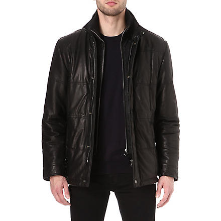 HUGO BOSS Sinom quilted-leather jacket (Black