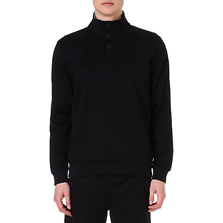HUGO BOSS Button-neck sweatshirt (Black