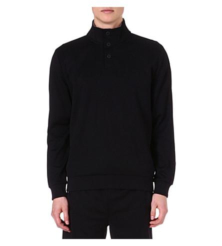 HUGO BOSS Button-neck sweatshirt (Black