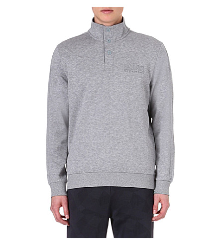 HUGO BOSS Button-neck sweatshirt (Grey