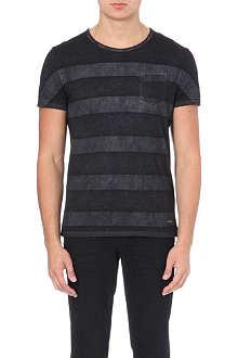 HUGO BOSS Faded stripe cotton t-shirt