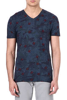 HUGO BOSS Floral v-neck t-shirt
