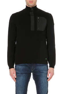 HUGO BOSS Neoprene detail knitted jumper