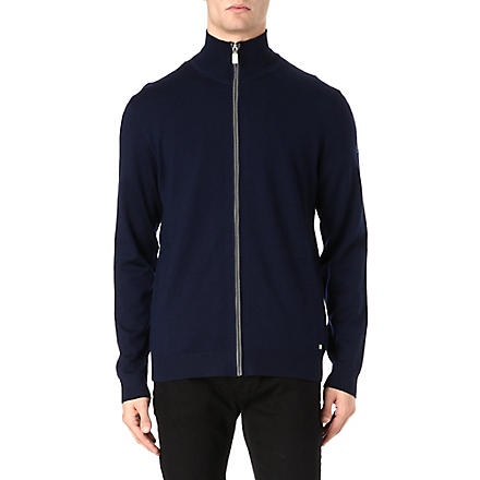 HUGO BOSS Full zip virgin wool hoodie (Navy